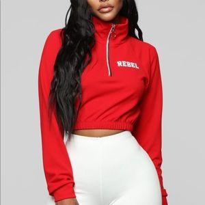 Red cropped Rebel hoodie